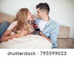 portrait of young woman eating... | Shutterstock . vector #795599023
