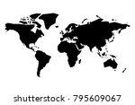 map of world vector silhouette. ... | Shutterstock .eps vector #795609067