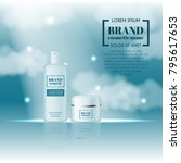 3d realistic cosmetic bottle... | Shutterstock .eps vector #795617653