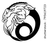 a circular capricorn sea goat