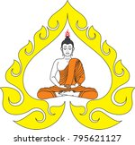 buddha meditation in swirl...   Shutterstock .eps vector #795621127