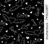 hand drawn doodle love seamless ... | Shutterstock .eps vector #795622897