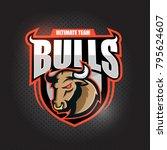 angy  bull head.  emblem  ... | Shutterstock .eps vector #795624607
