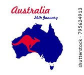 happy australia day concept and ... | Shutterstock .eps vector #795624913