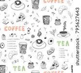 coffee and tea restaurant hand... | Shutterstock . vector #795627643