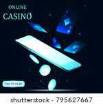 mobile casino slot game. flying ... | Shutterstock .eps vector #795627667