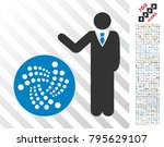 businessman show iota icon with ... | Shutterstock .eps vector #795629107