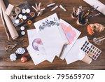 top view of designer workplace... | Shutterstock . vector #795659707