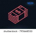 neon light. cash money line... | Shutterstock .eps vector #795668533