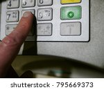 finger using automatic teller... | Shutterstock . vector #795669373
