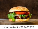 delicious tasty burger with... | Shutterstock . vector #795669793