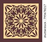 laser cutting panel. golden...   Shutterstock .eps vector #795678217