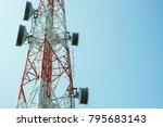 wireless communication tower... | Shutterstock . vector #795683143