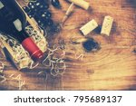 setting with bottle of red wine ... | Shutterstock . vector #795689137