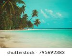 tropical sand beach with palm... | Shutterstock . vector #795692383