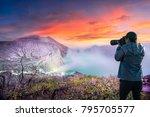 photographer or traveller using ...   Shutterstock . vector #795705577