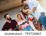 group of happy friends having... | Shutterstock . vector #795724867