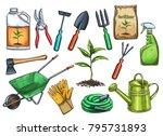 gardening tools vector... | Shutterstock .eps vector #795731893