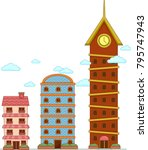 illustration of buildings to... | Shutterstock .eps vector #795747943