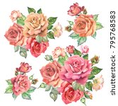 set of roses bouqutrs.watercolor | Shutterstock . vector #795768583