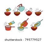 step by step instant noodle and ... | Shutterstock .eps vector #795779527
