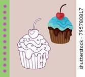 sweets coloring page for... | Shutterstock .eps vector #795780817