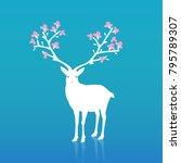 mysterious flower deer    Shutterstock .eps vector #795789307