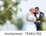 married couple posing on white... | Shutterstock . vector #795811783