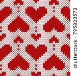 valentine jacquard seamless... | Shutterstock .eps vector #795823573