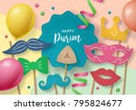 purim holiday concept with... | Shutterstock .eps vector #795824677