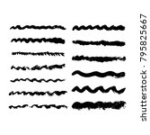 wave black lines drawn with... | Shutterstock .eps vector #795825667