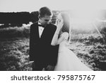 happy newlywed couple posing... | Shutterstock . vector #795875767