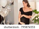 beautiful happy pregnant woman... | Shutterstock . vector #795876553