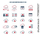 cloud computing icon set.... | Shutterstock .eps vector #795885037