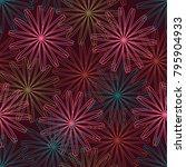 colorful stroke lines flower on ... | Shutterstock .eps vector #795904933
