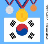 a set of sports medals. olympic ... | Shutterstock .eps vector #795913333
