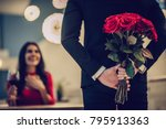 beautiful loving couple is... | Shutterstock . vector #795913363