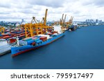 container ship. the projects... | Shutterstock . vector #795917497
