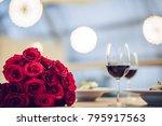 romantic dinner settings. two... | Shutterstock . vector #795917563