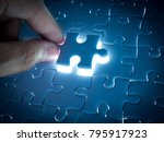 missing jigsaw puzzle piece... | Shutterstock . vector #795917923