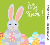 felic pascoa  happy easter ... | Shutterstock .eps vector #795921523