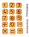 Small photo of Square cookies with chocolate numerals on them isolated on white background. Figures from zero to nine, mathematical signs plus, minus, equality, division. Flat lay. Top view.