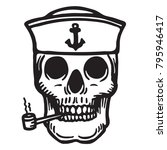 sailor skull with pipe | Shutterstock .eps vector #795946417