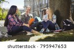 group of friends sitting under... | Shutterstock . vector #795947653