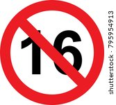 16 years limitation sign on... | Shutterstock . vector #795954913