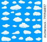clouds set isolated on blue...   Shutterstock .eps vector #795968857