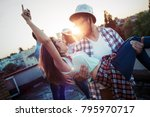 couple flirting while having a... | Shutterstock . vector #795970717