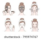 beauty fashion girl apply... | Shutterstock .eps vector #795974767