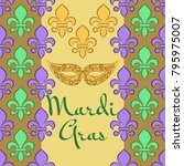 mardi gras background with... | Shutterstock .eps vector #795975007