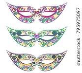 set of carnival masks. mardi... | Shutterstock .eps vector #795975097